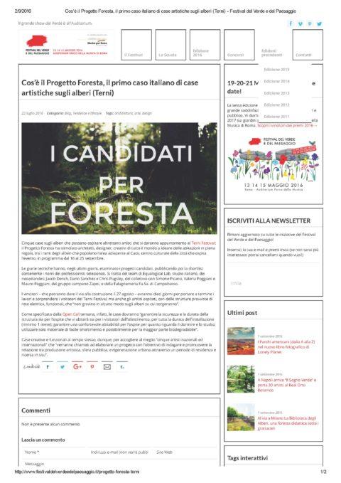 Cos'è il Progetto Foresta, il primo caso italiano di case artistiche sugli alberi (Terni) – Festival del Verde e del Paesaggio