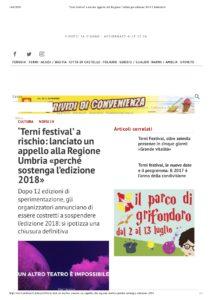 'Terni festival' a rischio- appello all...e Umbria per edizione 2018 Umbria24.it