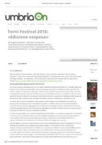 Terni Festival 2018- «Edizione sospesa» | umbriaON